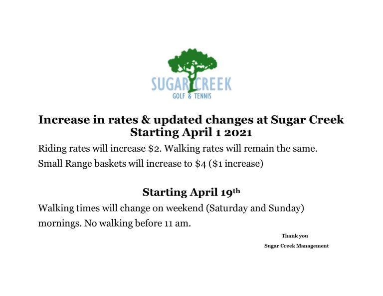 Golf Rate Increase April 2021
